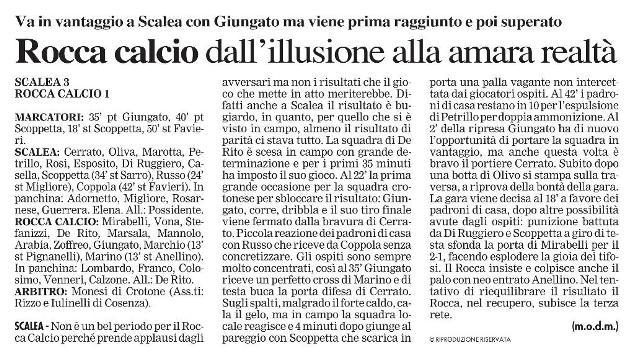 Il Crotonese 9 OTTOBRE 2012 sport Scalea - Rocca Calcio