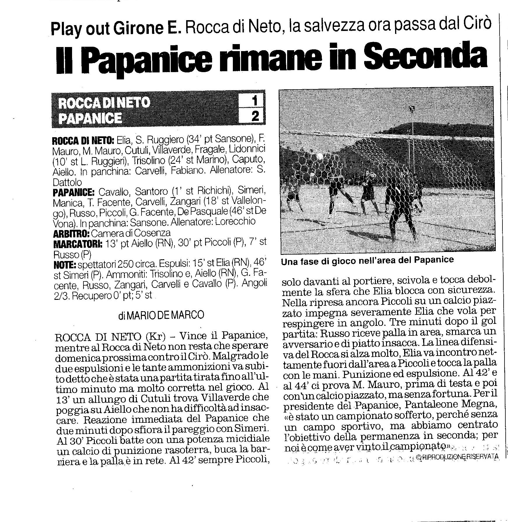 ROCCA DI NETO - PAPANICE  QUOTIDIANO DEL 13 MAGGIO 2013