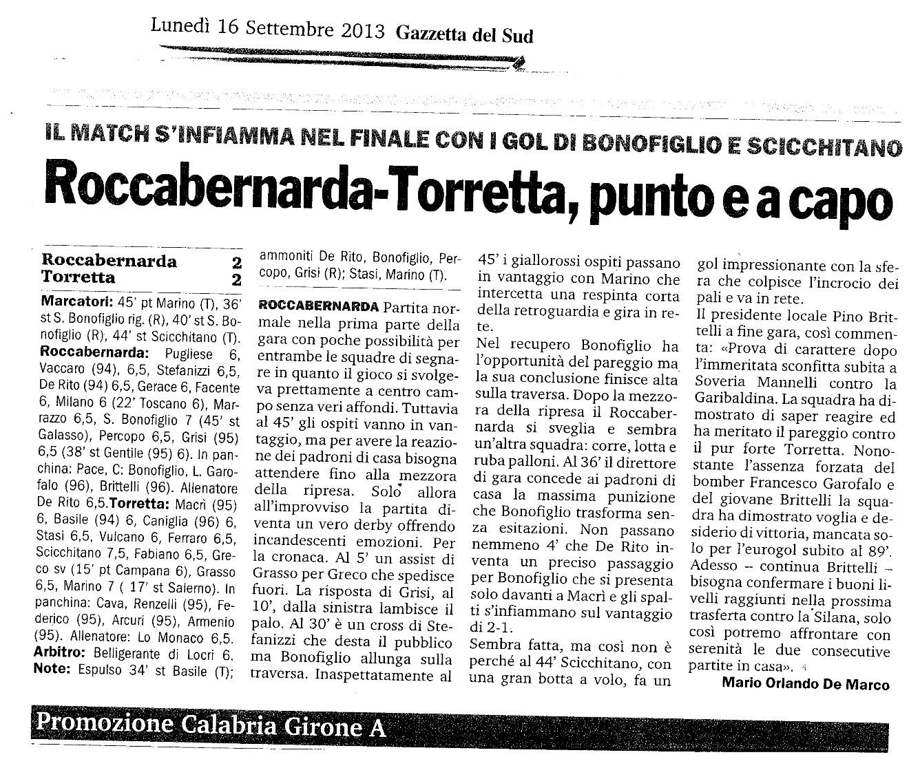 ROCCABERNARDA - TORRETTA (GS LUNEDì 16 SETT 2013)