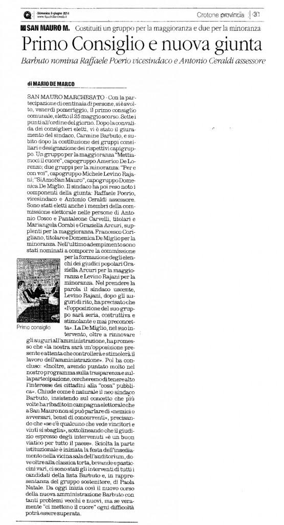PRIMO CONSIGLIO COMUNALE - QUOT 8 GIUGNO 2014
