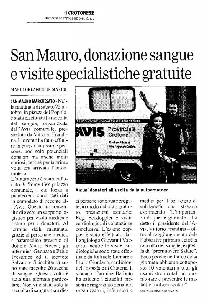 Donazione Crotonese del 30 ott 2014