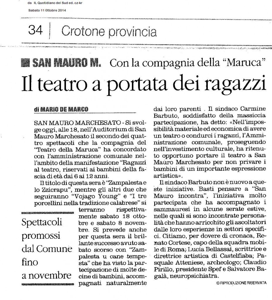 Il teatro Quot  11 ott 2014 t
