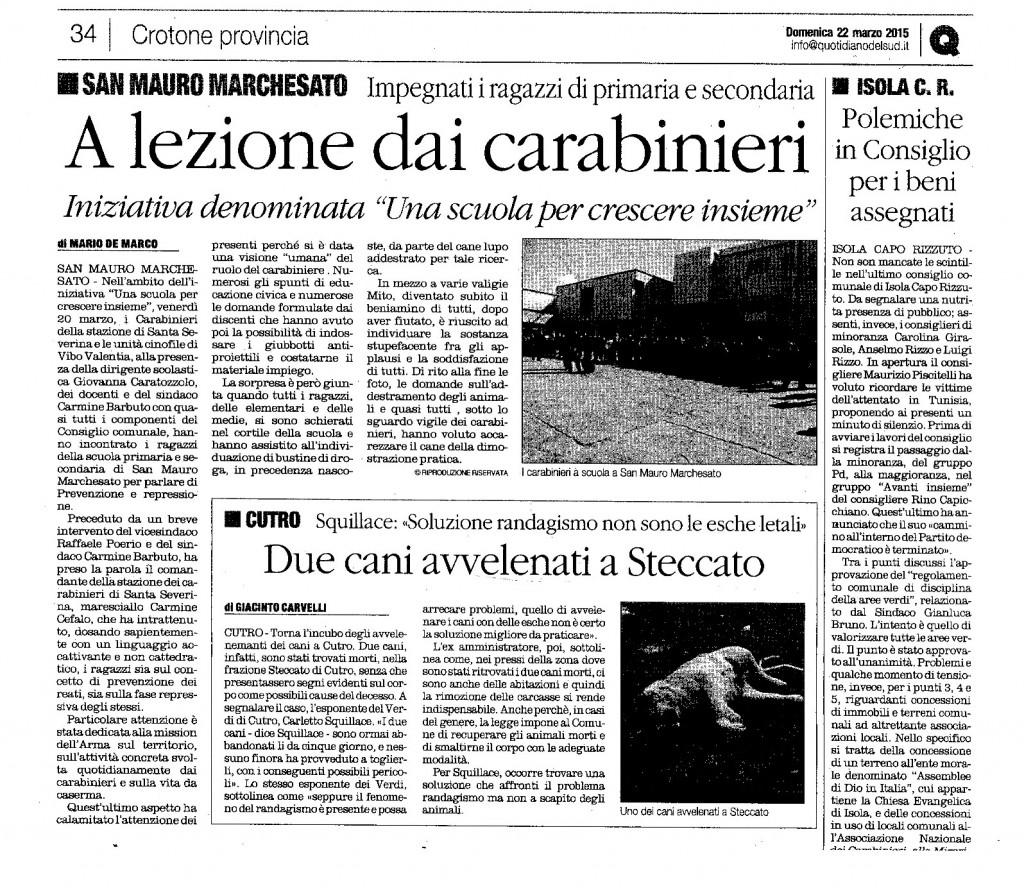 A lezioni dai carabinieri Q domenica 22 marzo 2015