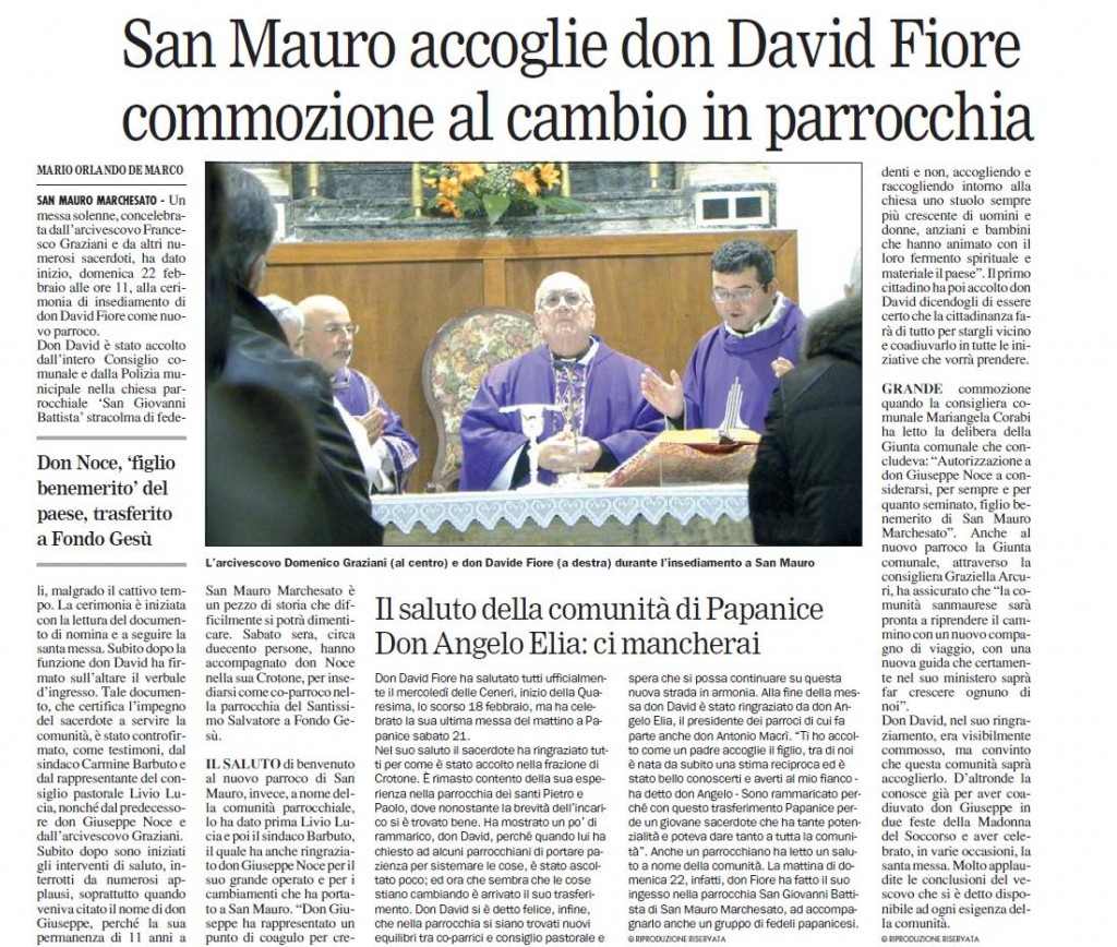 SAN MAURO ACCOGLIE DON DAVID