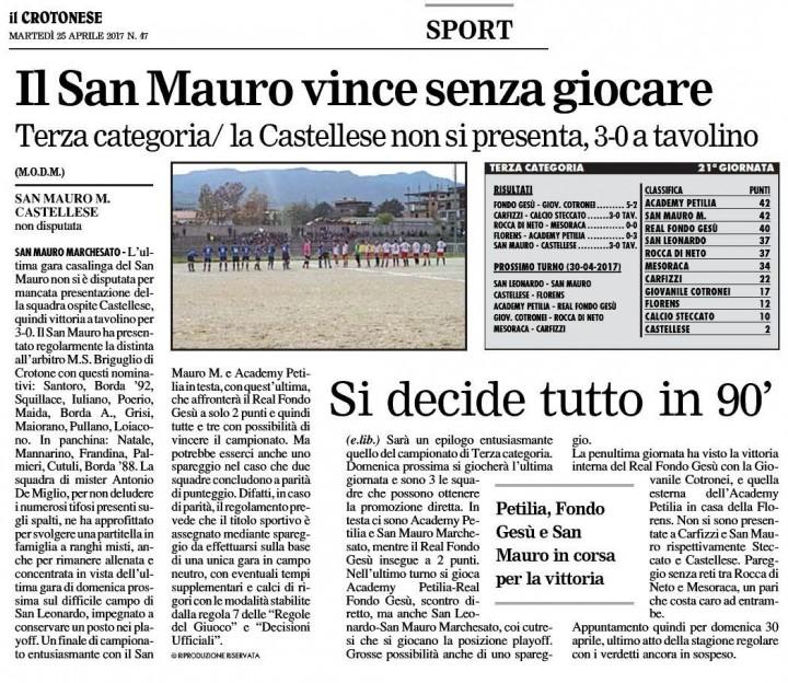Il San Mauro vince senza giocare kr 25 apr 2017