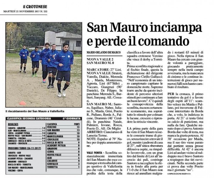 Nuova Valle  San Mauro Kr 21 nov 2017