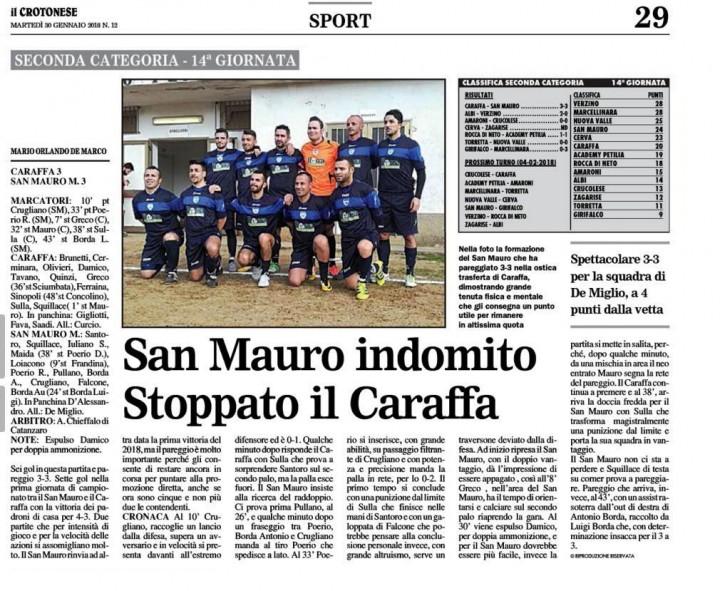 Caraffa vs San Mauro  Kr 30 genn 2018