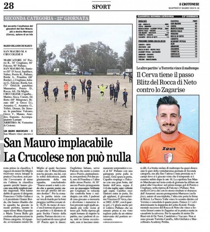 San Mauro M 4 Crucolese 0 KR martedì 27 03 2018